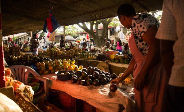 A fruit and vegetable market in Kisumu, Kenya.