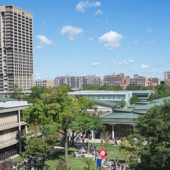 A view of UIC's East campus buildings, with University Hall in the background.