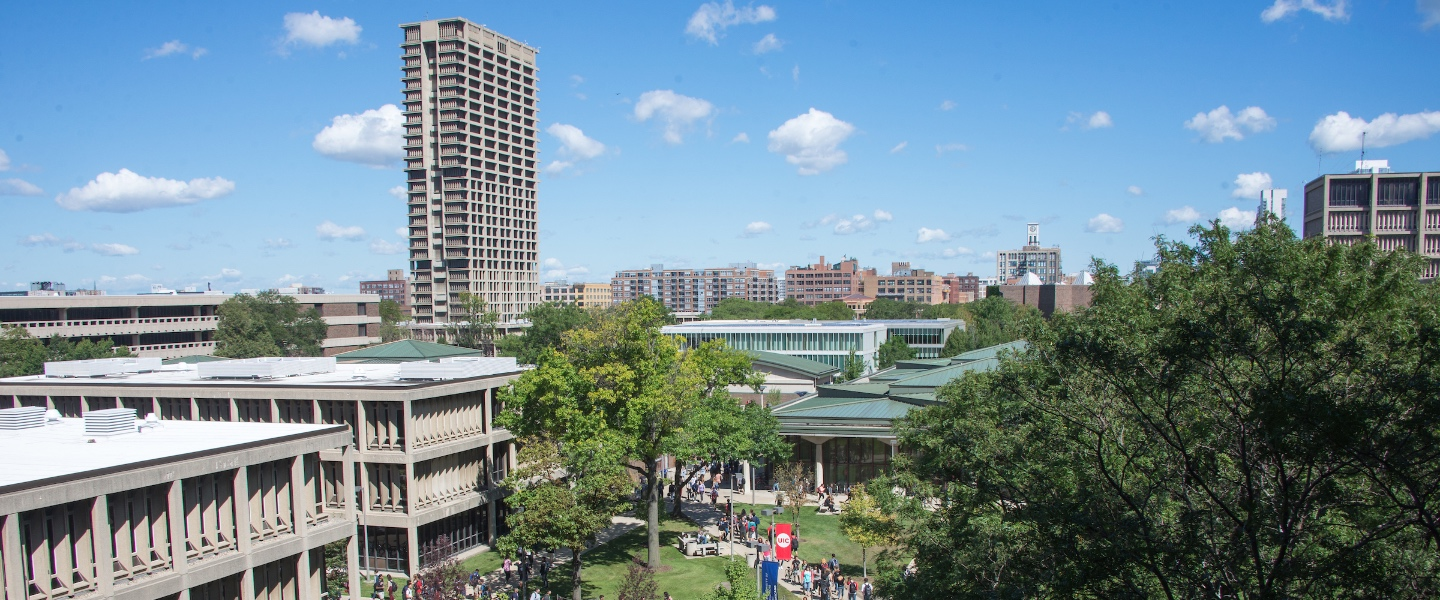 An aerial view of UIC's east campus buildings, with University Hall in the foreground.
