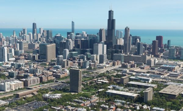An aerial view of the Chicago skyline, with UIC's east campus in the foreground.