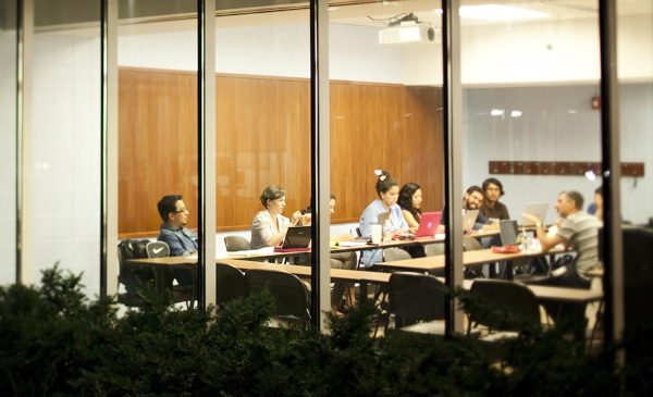 UIC students attend a class in Douglas Hall.
